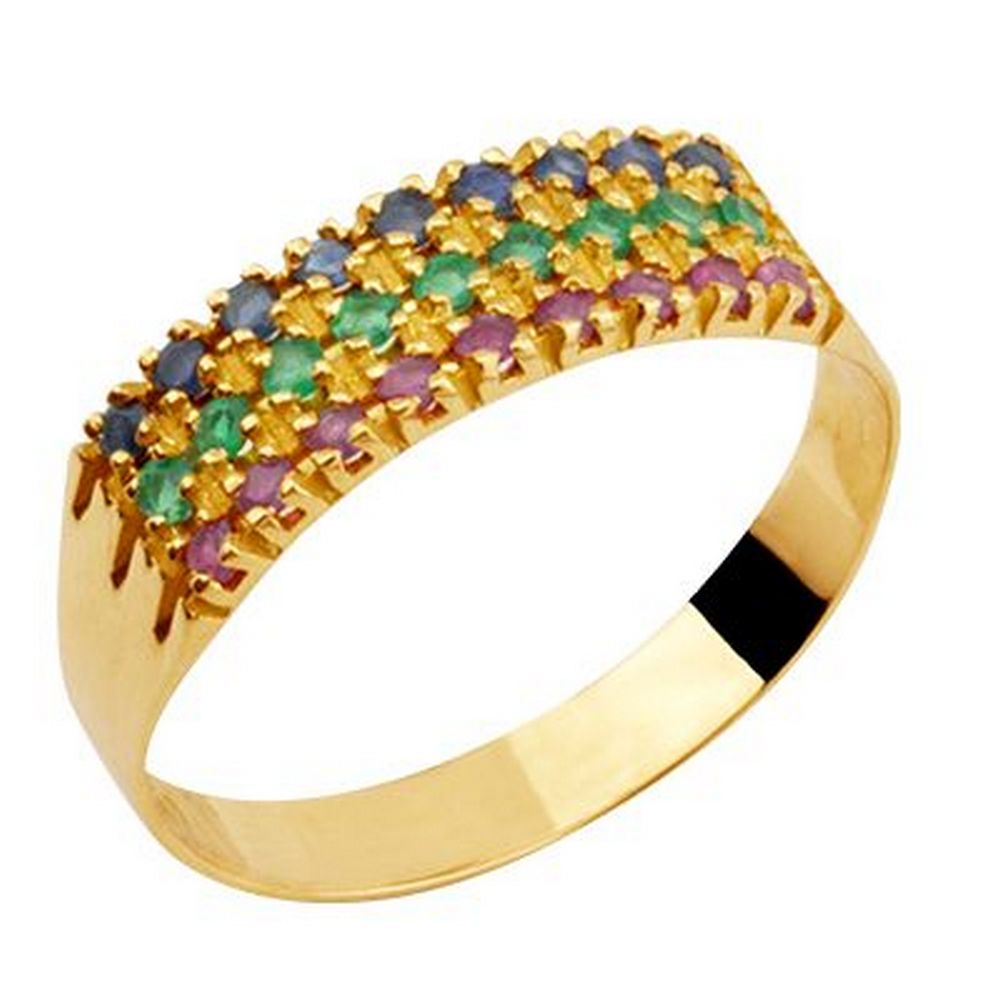 Meia Aliança Tripla de Ouro Safira Esmeralda Rubi - Feldens Joias 1c9266b95d